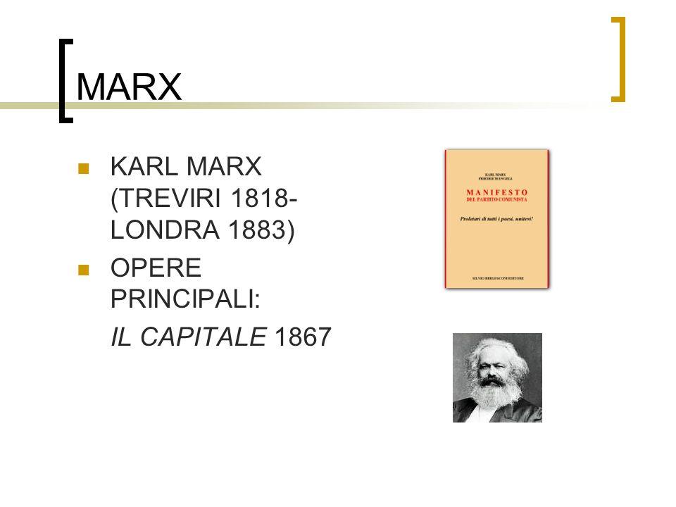 MARX KARL MARX (TREVIRI 1818- LONDRA 1883) OPERE PRINCIPALI: IL CAPITALE 1867