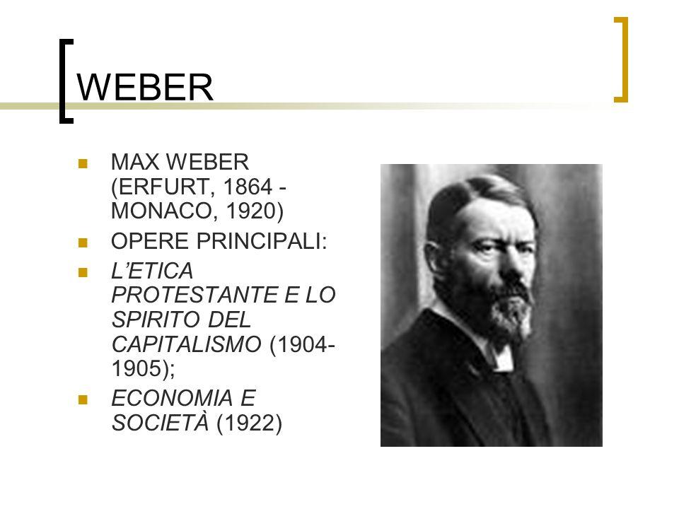 WEBER MAX WEBER (ERFURT, 1864 - MONACO, 1920) OPERE PRINCIPALI: LETICA PROTESTANTE E LO SPIRITO DEL CAPITALISMO (1904- 1905); ECONOMIA E SOCIETÀ (1922