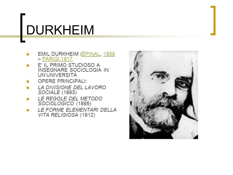 DURKHEIM EMIL DURKHEIM (ÉPINAL, 1858 – PARIGI,1917ÉPINAL1858PARIGI1917 E IL PRIMO STUDIOSO A INSEGNARE SOCIOLOGIA IN UNUNIVERSITÀ OPERE PRINCIPALI: LA