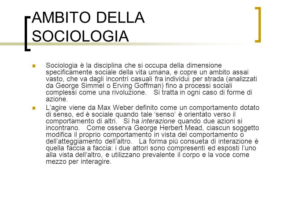 AMBITO DELLA SOCIOLOGIA Sociologia è la disciplina che si occupa della dimensione specificamente sociale della vita umana, e copre un ambito assai vas