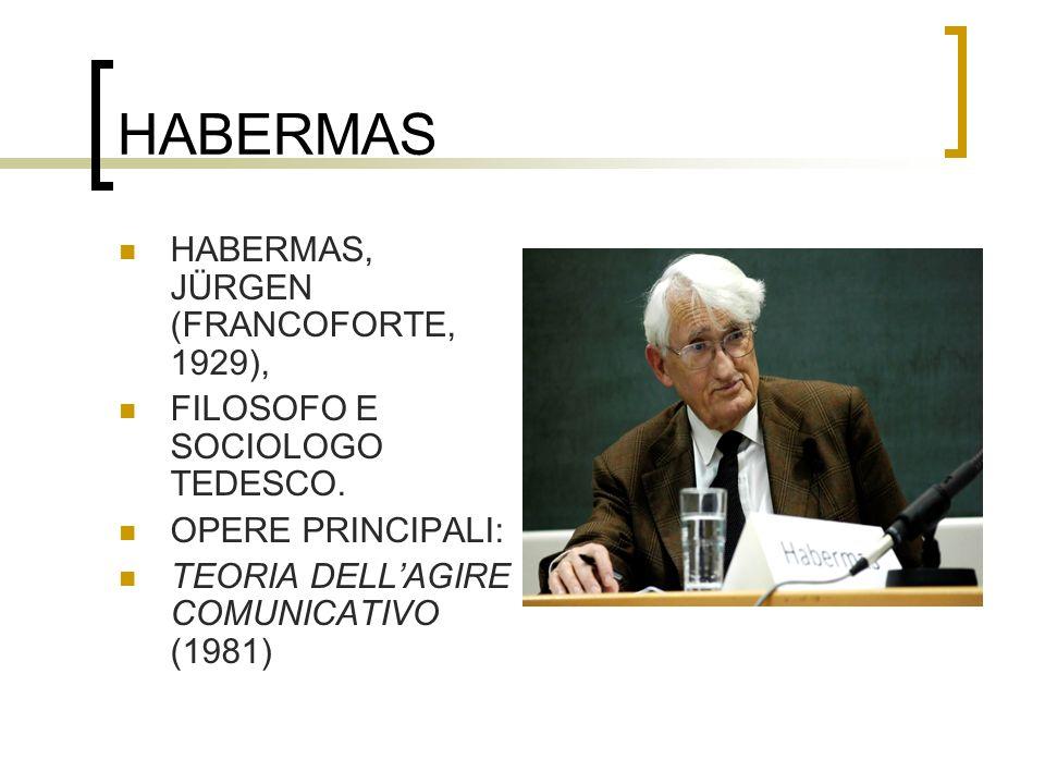 HABERMAS HABERMAS, JÜRGEN (FRANCOFORTE, 1929), FILOSOFO E SOCIOLOGO TEDESCO. OPERE PRINCIPALI: TEORIA DELLAGIRE COMUNICATIVO (1981)
