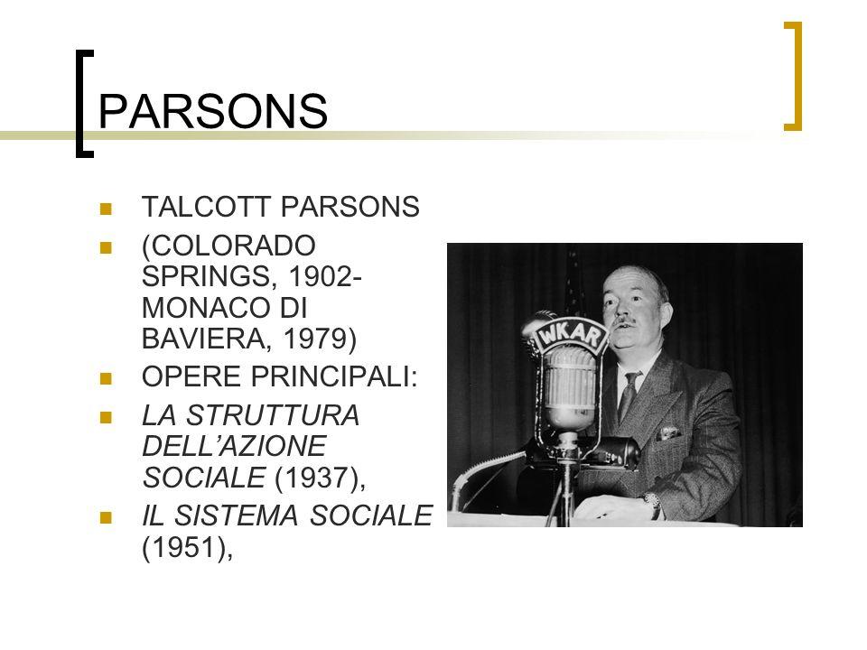 PARSONS TALCOTT PARSONS (COLORADO SPRINGS, 1902- MONACO DI BAVIERA, 1979) OPERE PRINCIPALI: LA STRUTTURA DELLAZIONE SOCIALE (1937), IL SISTEMA SOCIALE