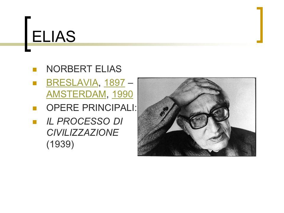 ELIAS NORBERT ELIAS BRESLAVIA, 1897 – AMSTERDAM, 1990 BRESLAVIA1897 AMSTERDAM1990 OPERE PRINCIPALI: IL PROCESSO DI CIVILIZZAZIONE (1939)