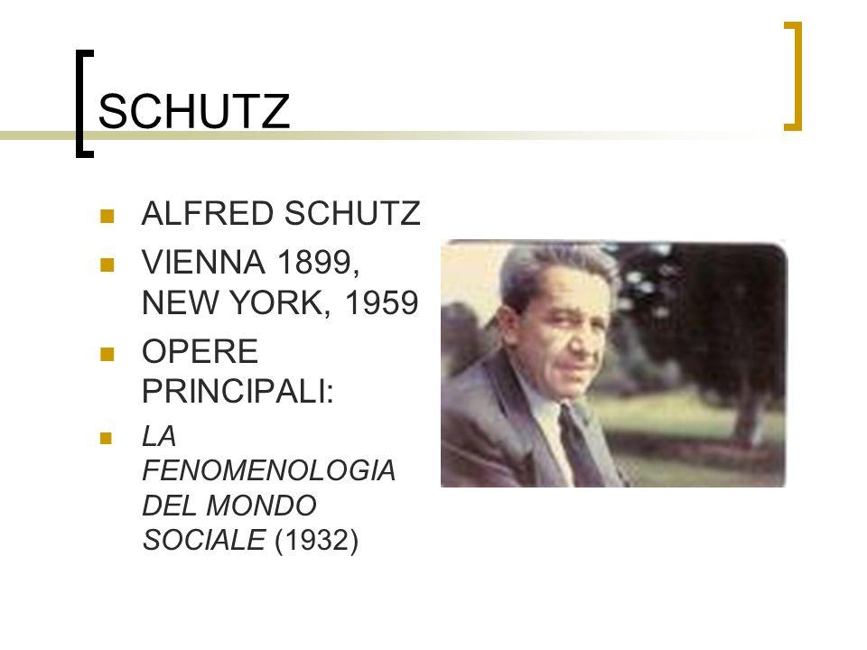 SCHUTZ ALFRED SCHUTZ VIENNA 1899, NEW YORK, 1959 OPERE PRINCIPALI: LA FENOMENOLOGIA DEL MONDO SOCIALE (1932)