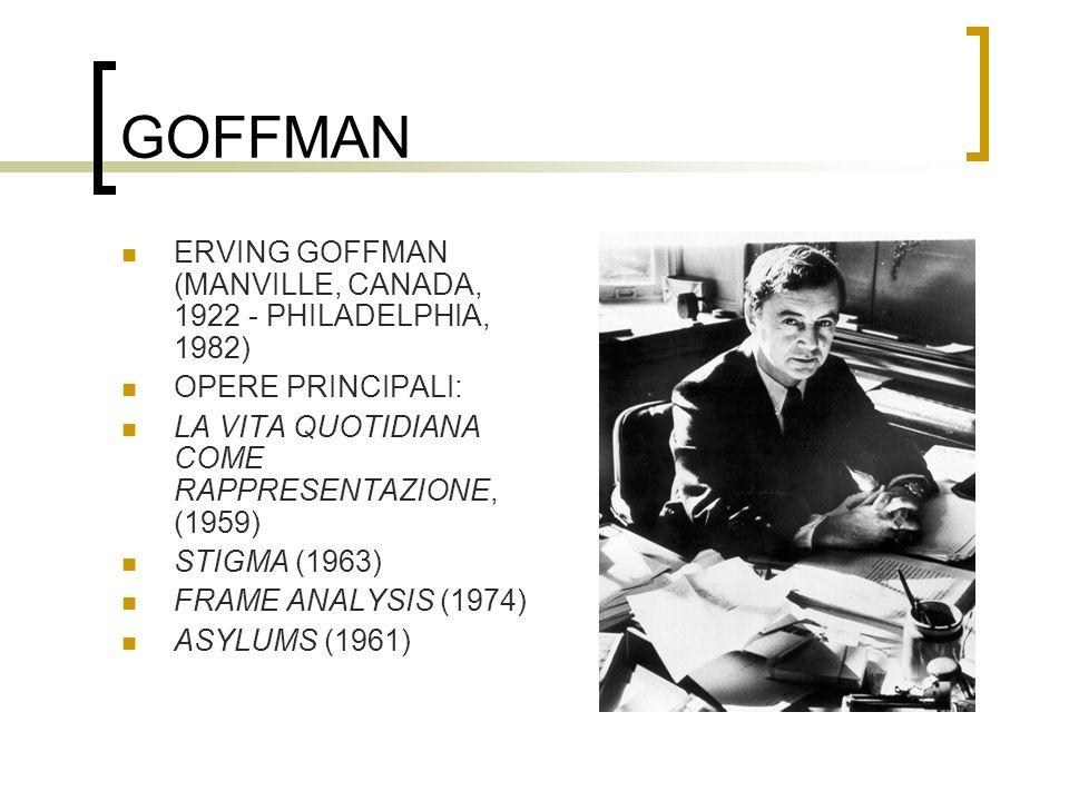 GOFFMAN ERVING GOFFMAN (MANVILLE, CANADA, 1922 - PHILADELPHIA, 1982) OPERE PRINCIPALI: LA VITA QUOTIDIANA COME RAPPRESENTAZIONE, (1959) STIGMA (1963)