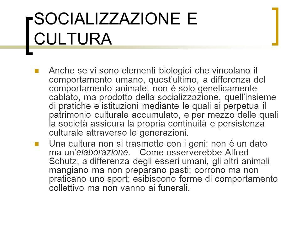 SOCIALIZZAZIONE E CULTURA Anche se vi sono elementi biologici che vincolano il comportamento umano, questultimo, a differenza del comportamento animal