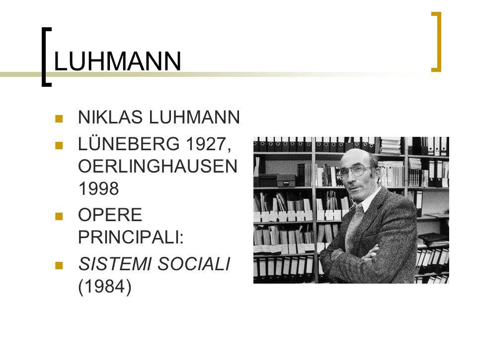 LUHMANN NIKLAS LUHMANN LÜNEBERG 1927, OERLINGHAUSEN 1998 OPERE PRINCIPALI: SISTEMI SOCIALI (1984)