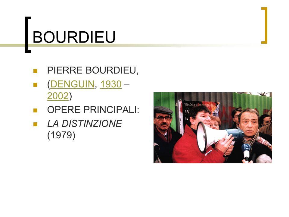 BOURDIEU PIERRE BOURDIEU, (DENGUIN, 1930 – 2002)DENGUIN1930 2002 OPERE PRINCIPALI: LA DISTINZIONE (1979)