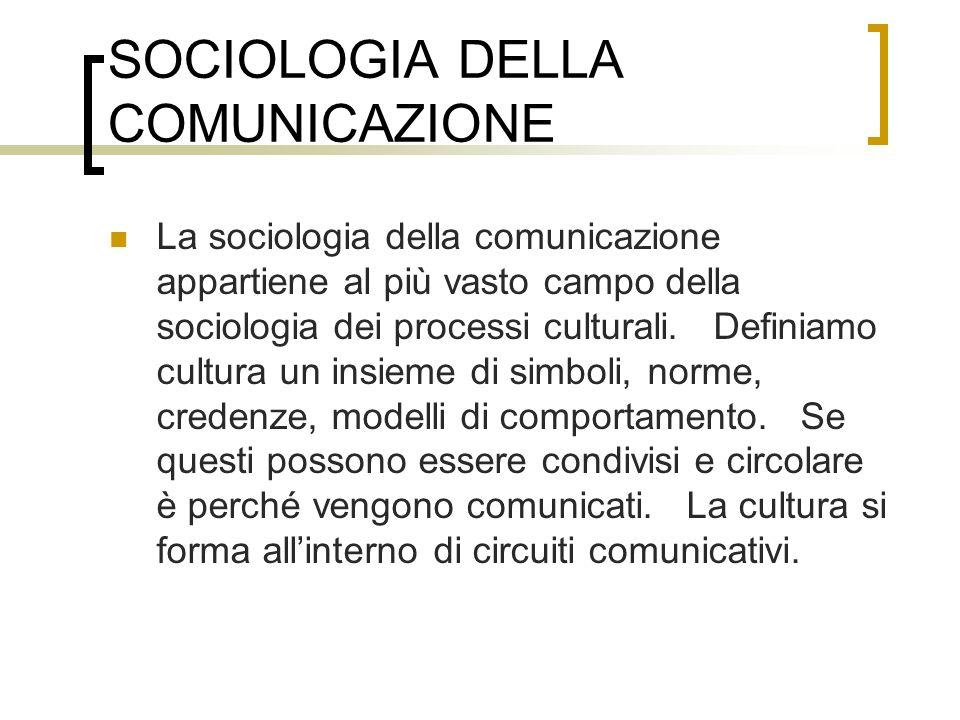 SOCIOLOGIA DELLA COMUNICAZIONE La sociologia della comunicazione appartiene al più vasto campo della sociologia dei processi culturali. Definiamo cult