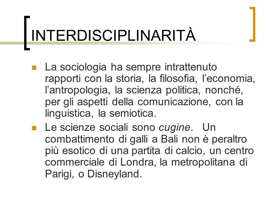 INTERDISCIPLINARITÀ La sociologia ha sempre intrattenuto rapporti con la storia, la filosofia, leconomia, lantropologia, la scienza politica, nonché,