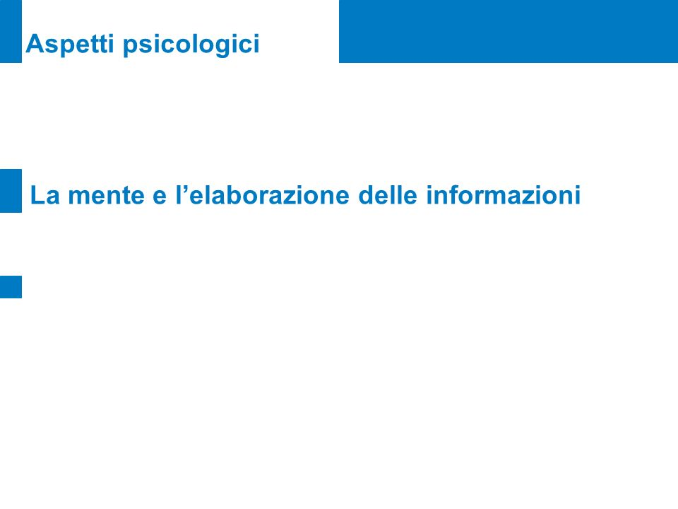 Aspetti psicologici La mente e lelaborazione delle informazioni