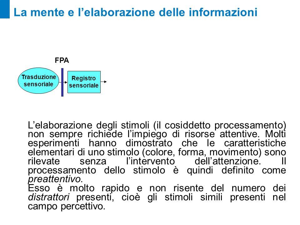 La mente e lelaborazione delle informazioni Lelaborazione degli stimoli (il cosiddetto processamento) non sempre richiede limpiego di risorse attentiv