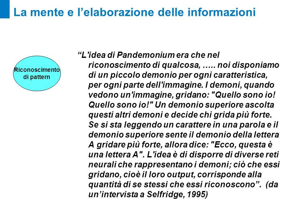 La mente e lelaborazione delle informazioni L'idea di Pandemonium era che nel riconoscimento di qualcosa, ….. noi disponiamo di un piccolo demonio per