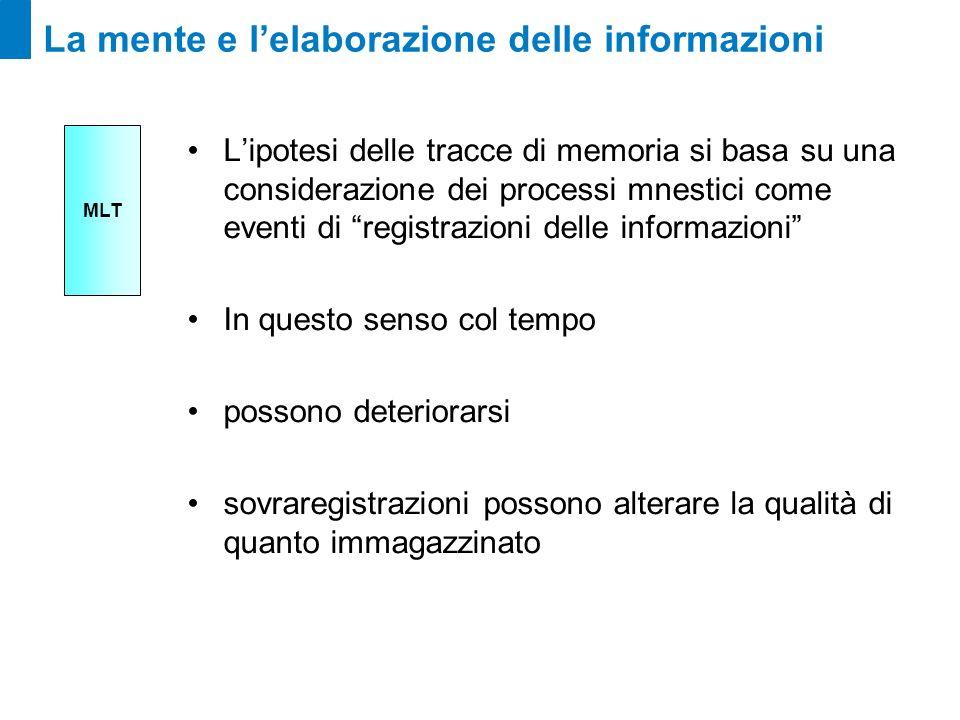La mente e lelaborazione delle informazioni Lipotesi delle tracce di memoria si basa su una considerazione dei processi mnestici come eventi di regist