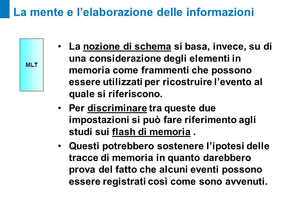 La mente e lelaborazione delle informazioni La nozione di schema si basa, invece, su di una considerazione degli elementi in memoria come frammenti ch
