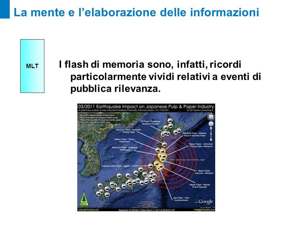 La mente e lelaborazione delle informazioni I flash di memoria sono, infatti, ricordi particolarmente vividi relativi a eventi di pubblica rilevanza.