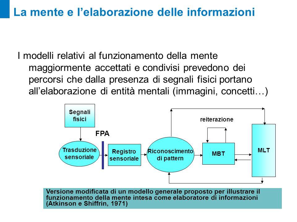 La mente e lelaborazione delle informazioni I segnali fisici Registro sensoriale Riconoscimento di pattern MBT MLT Segnali fisici Trasduzione sensoriale reiterazione