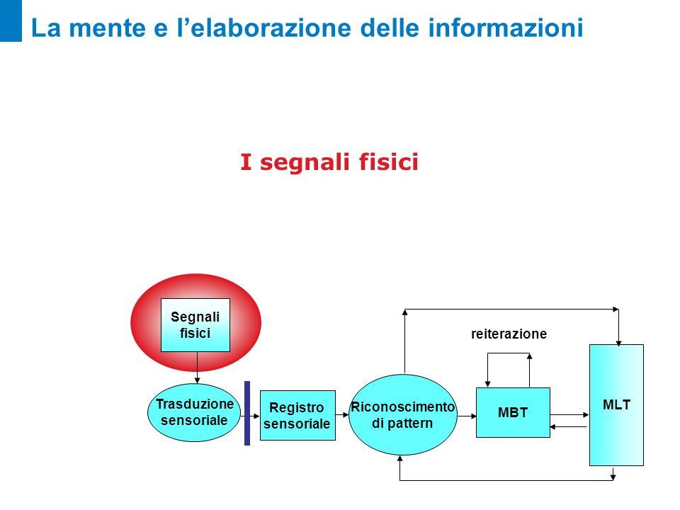 La mente e lelaborazione delle informazioni I segnali fisici Registro sensoriale Riconoscimento di pattern MBT MLT Segnali fisici Trasduzione sensoria