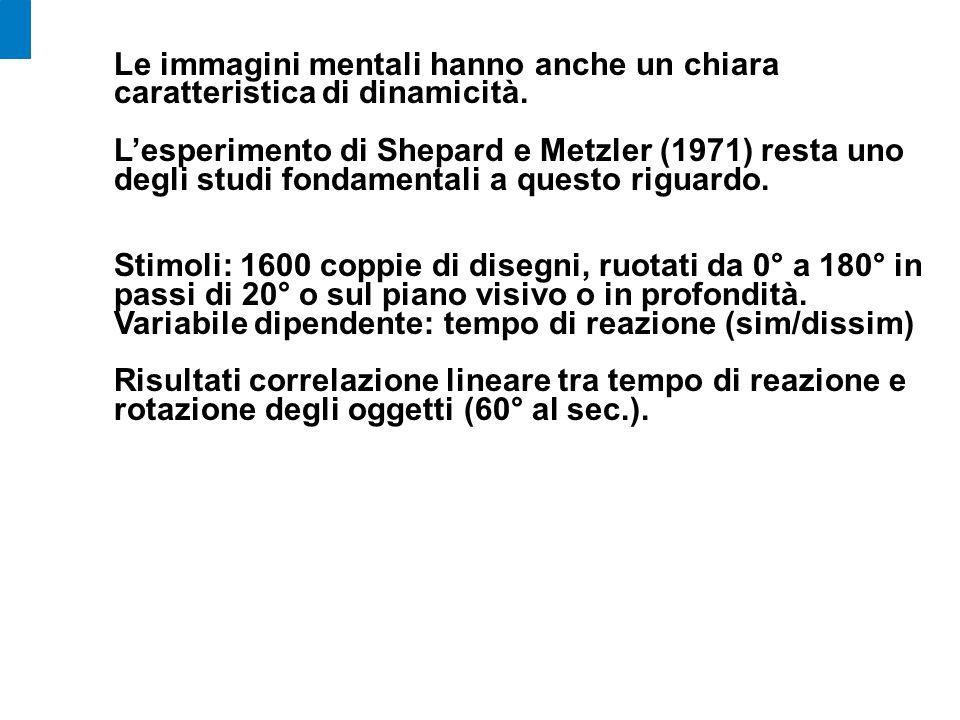 Le immagini mentali hanno anche un chiara caratteristica di dinamicità. Lesperimento di Shepard e Metzler (1971) resta uno degli studi fondamentali a