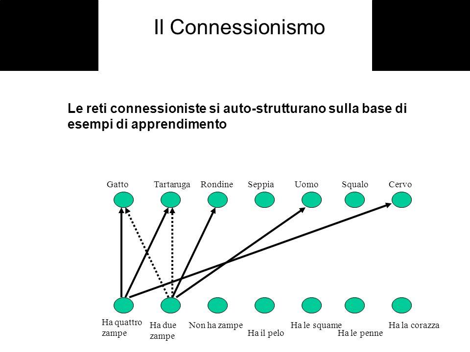 Il Connessionismo Le reti connessioniste si auto-strutturano sulla base di esempi di apprendimento Ha quattro zampe Ha due zampe Non ha zampe Ha il pe