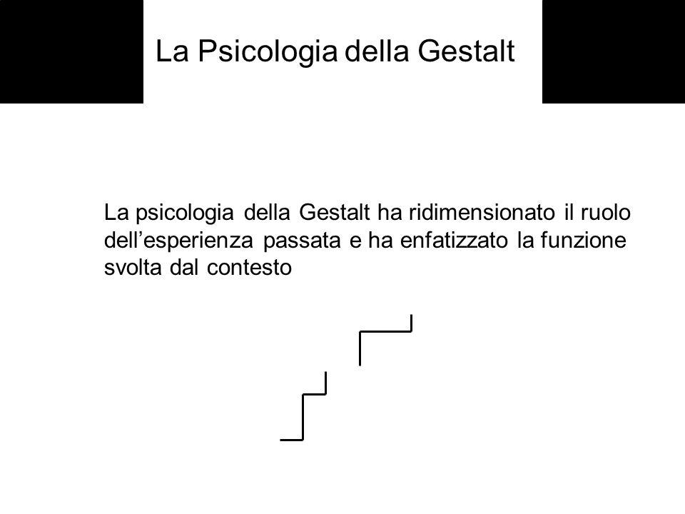 La psicologia della Gestalt ha ridimensionato il ruolo dellesperienza passata e ha enfatizzato la funzione svolta dal contesto