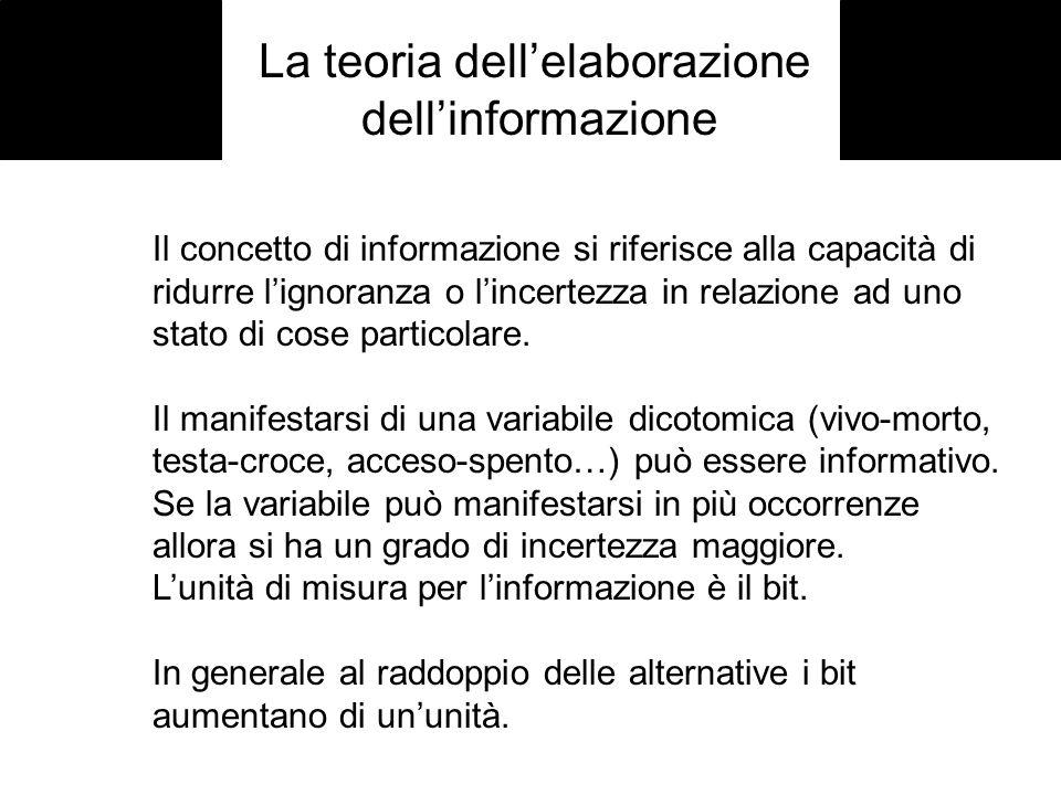 La teoria dellelaborazione dellinformazione Il concetto di informazione si riferisce alla capacità di ridurre lignoranza o lincertezza in relazione ad