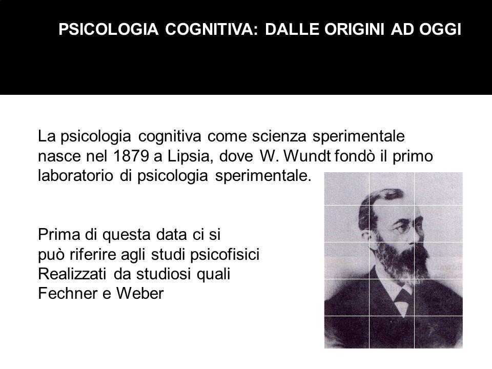 PSICOLOGIA COGNITIVA: DALLE ORIGINI AD OGGI La psicologia cognitiva come scienza sperimentale nasce nel 1879 a Lipsia, dove W. Wundt fondò il primo la