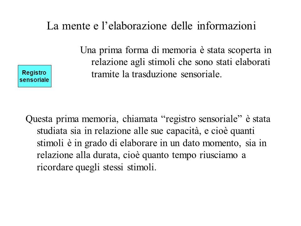 La mente e lelaborazione delle informazioni Una prima forma di memoria è stata scoperta in relazione agli stimoli che sono stati elaborati tramite la