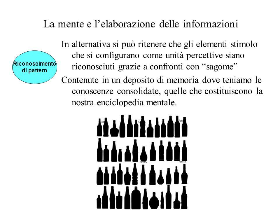 La mente e lelaborazione delle informazioni In alternativa si può ritenere che gli elementi stimolo che si configurano come unità percettive siano ric
