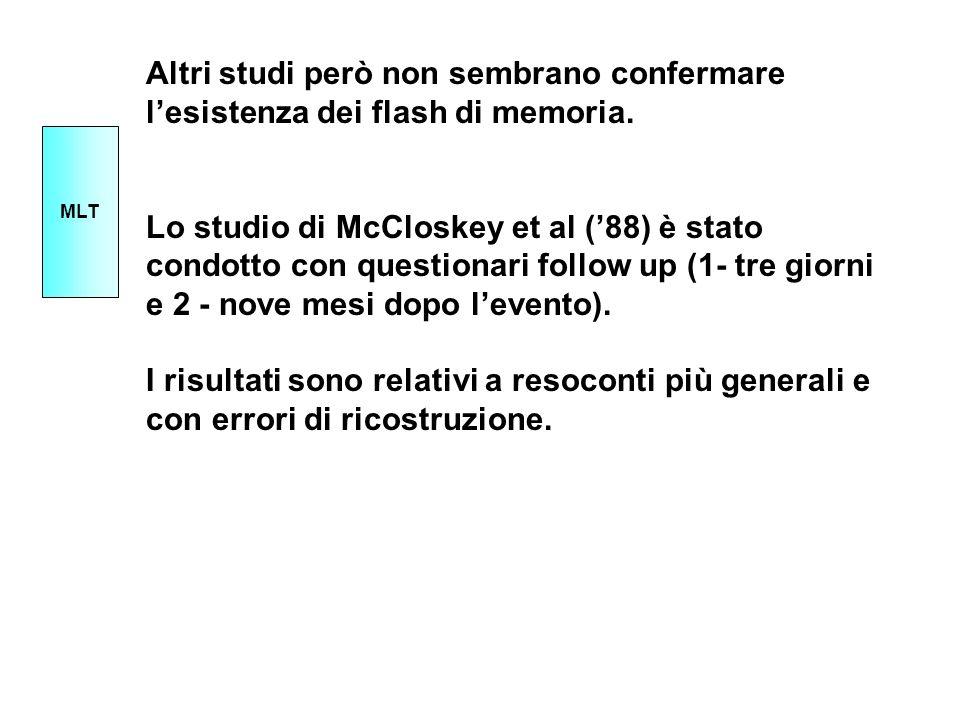 Altri studi però non sembrano confermare lesistenza dei flash di memoria. Lo studio di McCloskey et al (88) è stato condotto con questionari follow up