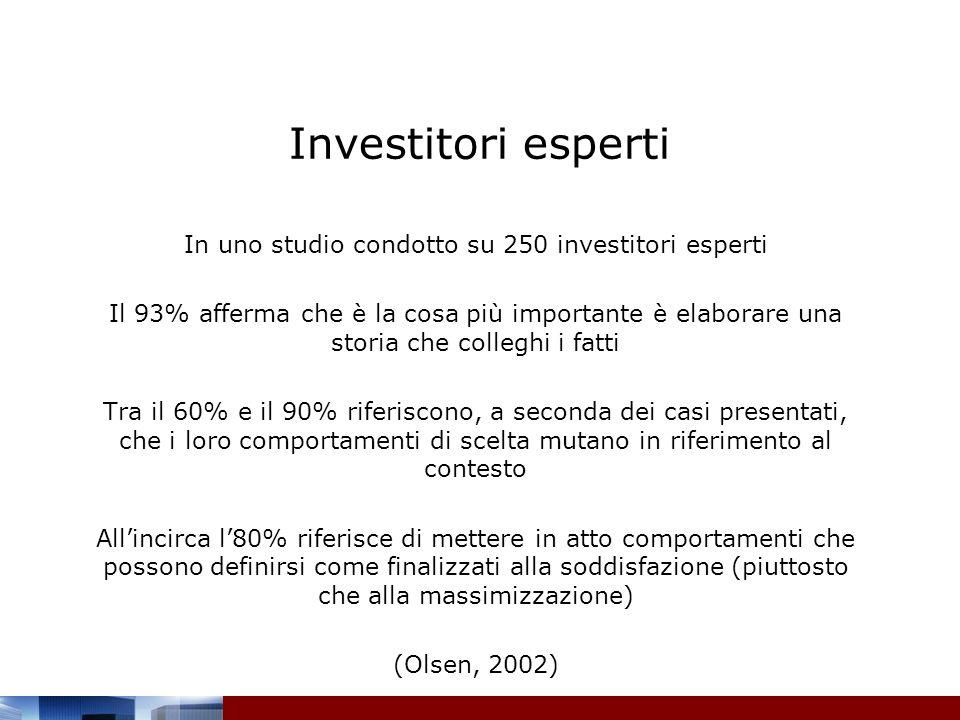 Investitori esperti In uno studio condotto su 250 investitori esperti Il 93% afferma che è la cosa più importante è elaborare una storia che colleghi