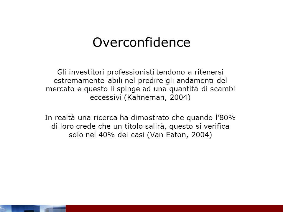 Overconfidence Gli investitori professionisti tendono a ritenersi estremamente abili nel predire gli andamenti del mercato e questo li spinge ad una q
