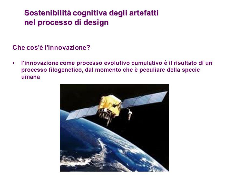 Sostenibilità cognitiva degli artefatti nel processo di design Che cos'è l'innovazione? l'innovazione come processo evolutivo cumulativo è il risultat