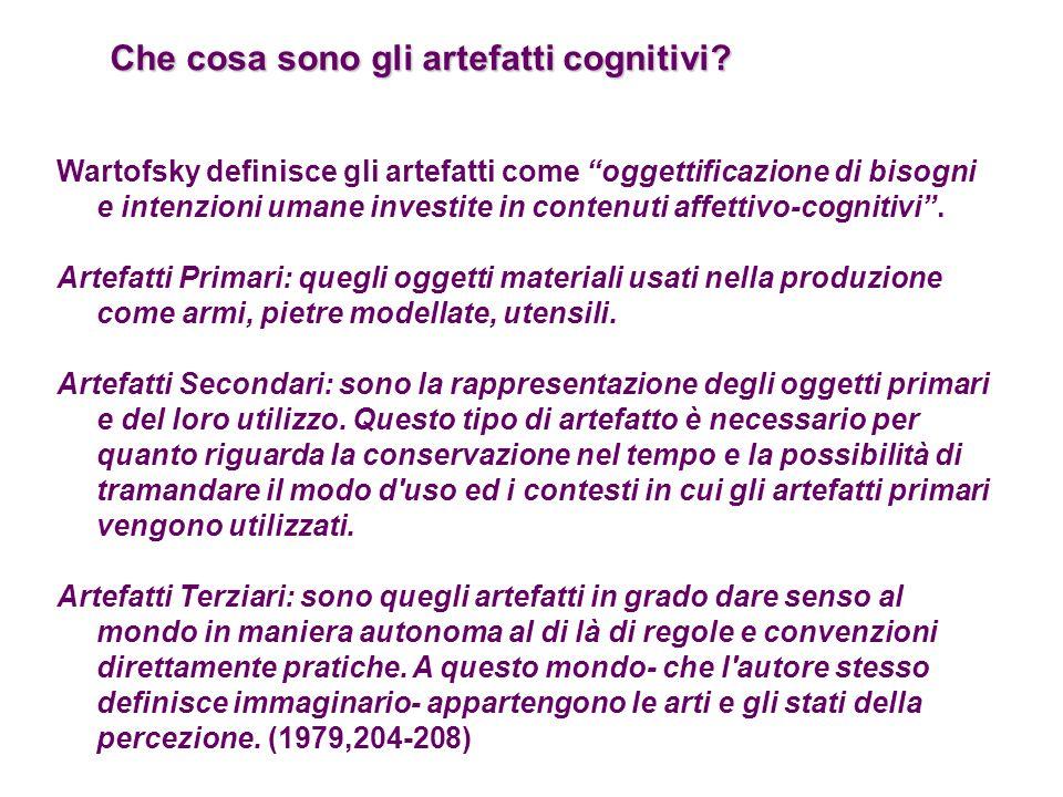 Che cosa sono gli artefatti cognitivi? Wartofsky definisce gli artefatti come oggettificazione di bisogni e intenzioni umane investite in contenuti af
