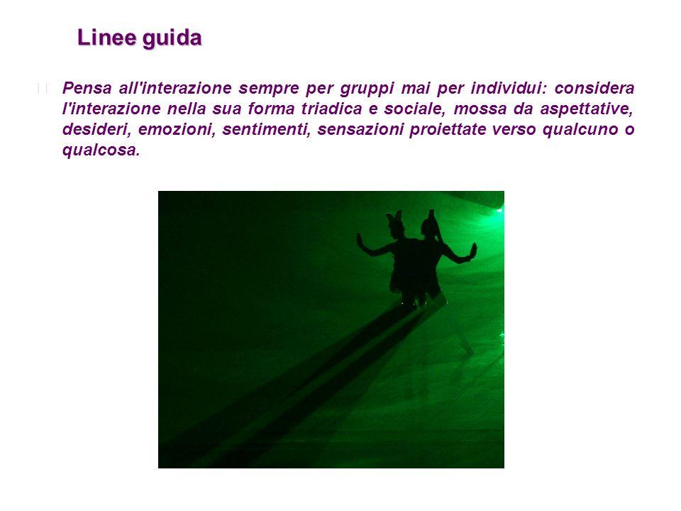 Linee guida Linee guida Pensa all'interazione sempre per gruppi mai per individui: considera l'interazione nella sua forma triadica e sociale, mossa d