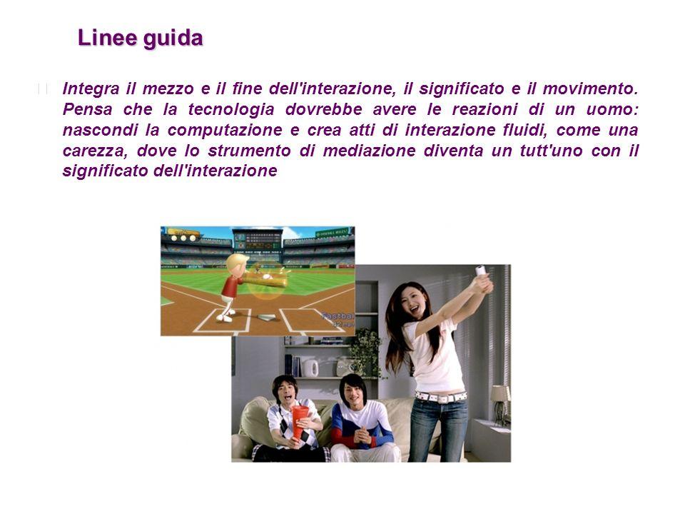 Linee guida Linee guida Integra il mezzo e il fine dell'interazione, il significato e il movimento. Pensa che la tecnologia dovrebbe avere le reazioni