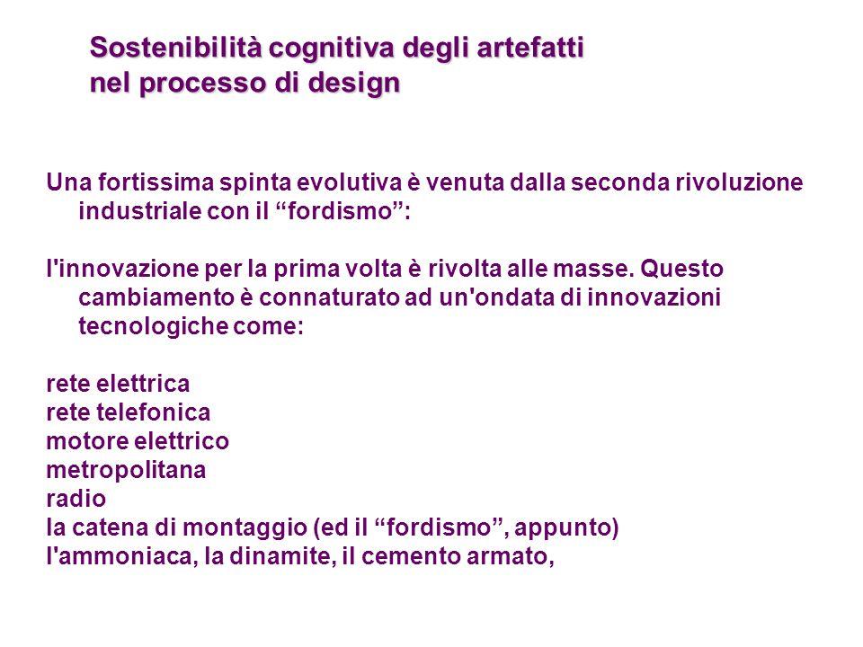 Sostenibilità cognitiva degli artefatti nel processo di design Una fortissima spinta evolutiva è venuta dalla seconda rivoluzione industriale con il f