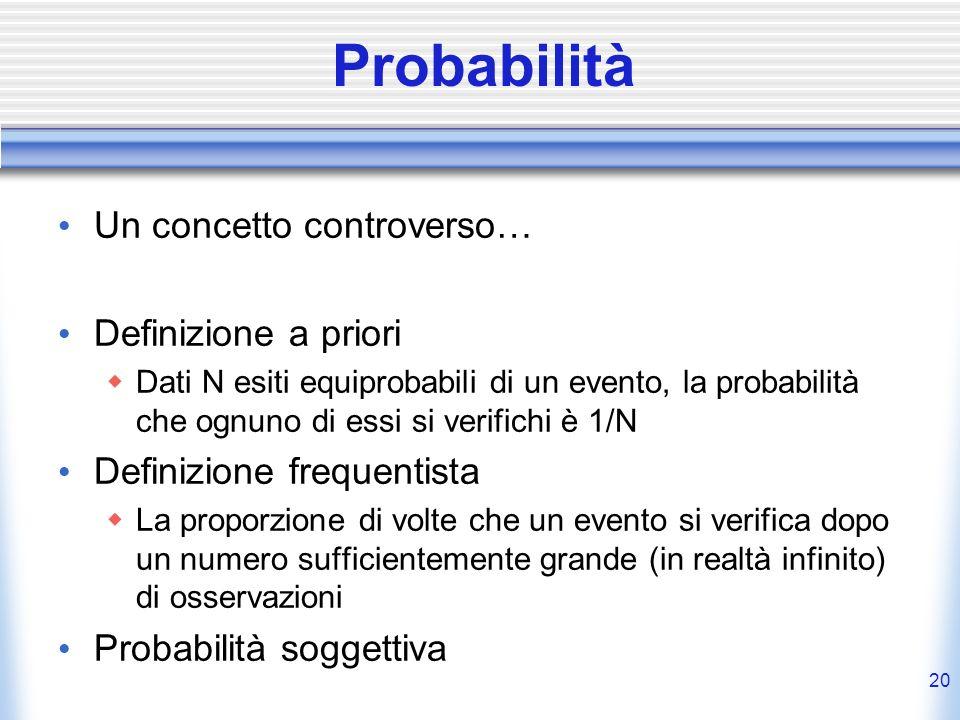 Probabilità Un concetto controverso… Definizione a priori Dati N esiti equiprobabili di un evento, la probabilità che ognuno di essi si verifichi è 1/