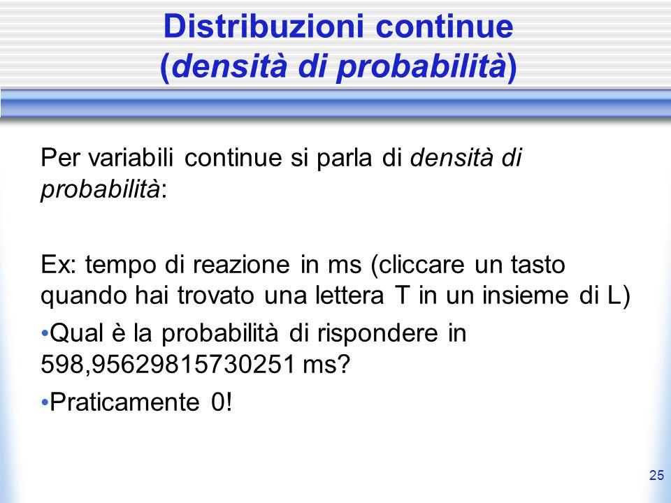 25 Distribuzioni continue (densità di probabilità) Per variabili continue si parla di densità di probabilità: Ex: tempo di reazione in ms (cliccare un