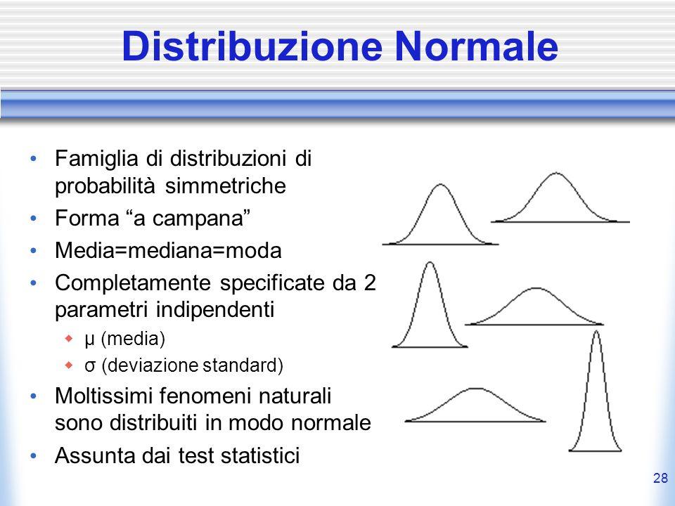 28 Distribuzione Normale Famiglia di distribuzioni di probabilità simmetriche Forma a campana Media=mediana=moda Completamente specificate da 2 parame