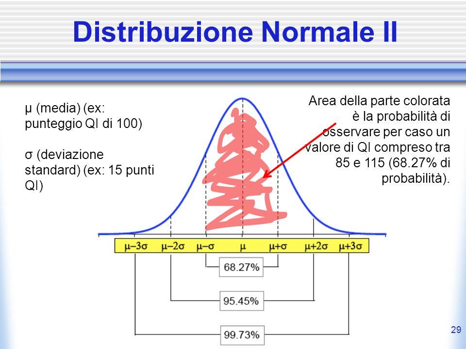 29 Distribuzione Normale II μ (media) (ex: punteggio QI di 100) σ (deviazione standard) (ex: 15 punti QI) Area della parte colorata è la probabilità d