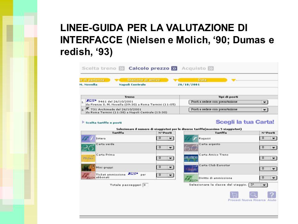 LINEE-GUIDA PER LA VALUTAZIONE DI INTERFACCE (Nielsen e Molich, 90; Dumas e redish, 93)