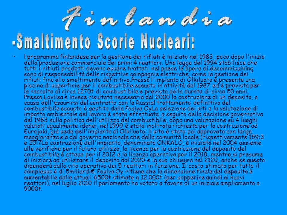 l programma finlandese per la gestione dei rifiuti è iniziato nel 1983, poco dopo l inizio della produzione commerciale dei primi 4 reattori.