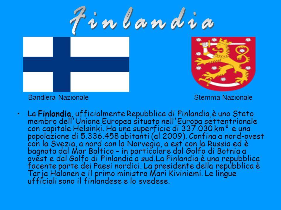 Bandiera NazionaleStemma Nazionale La Finlandia, ufficialmente Repubblica di Finlandia,è uno Stato membro dell Unione Europea situato nell Europa settentrionale con capitale Helsinki.