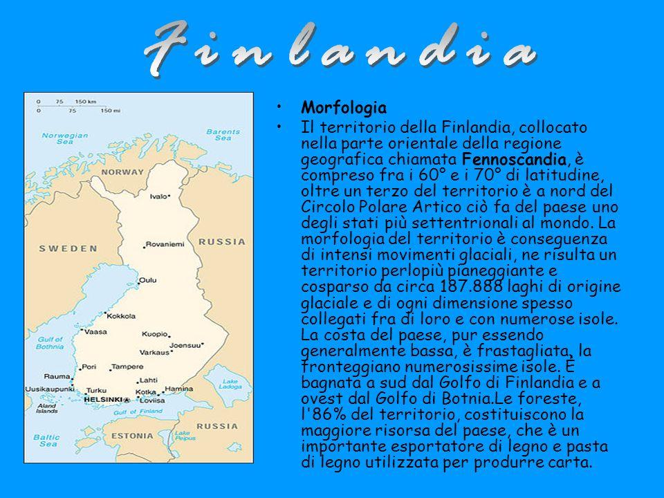 Morfologia Il territorio della Finlandia, collocato nella parte orientale della regione geografica chiamata Fennoscandia, è compreso fra i 60° e i 70° di latitudine, oltre un terzo del territorio è a nord del Circolo Polare Artico ciò fa del paese uno degli stati più settentrionali al mondo.