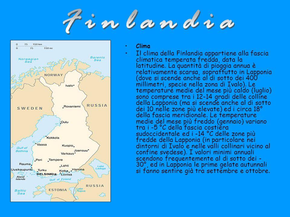 Clima Il clima della Finlandia appartiene alla fascia climatica temperata fredda, data la latitudine.