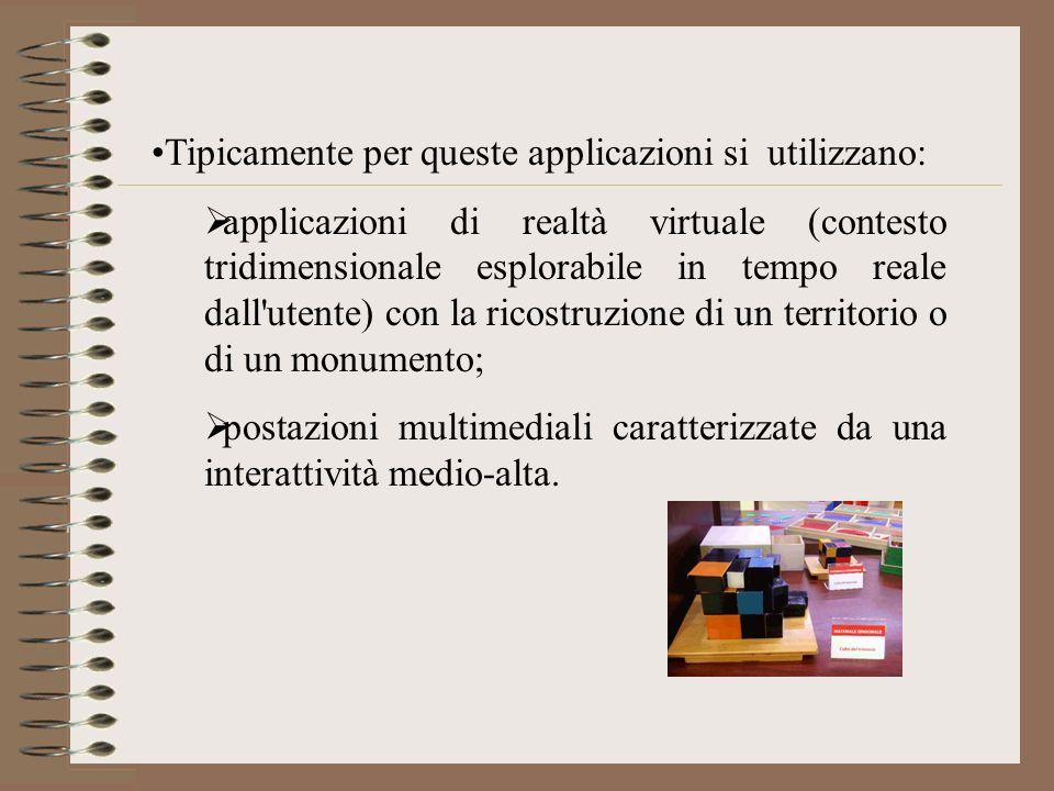 Tipicamente per queste applicazioni si utilizzano: applicazioni di realtà virtuale (contesto tridimensionale esplorabile in tempo reale dall'utente) c