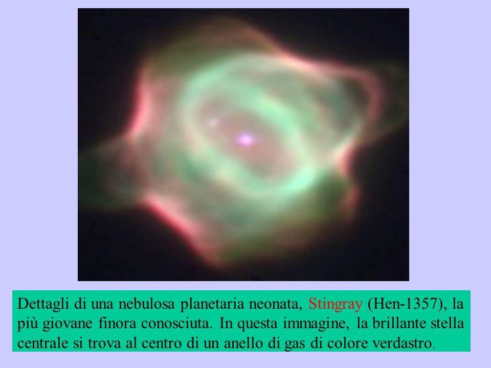 Dettagli di una nebulosa planetaria neonata, Stingray (Hen-1357), la più giovane finora conosciuta. In questa immagine, la brillante stella centrale s