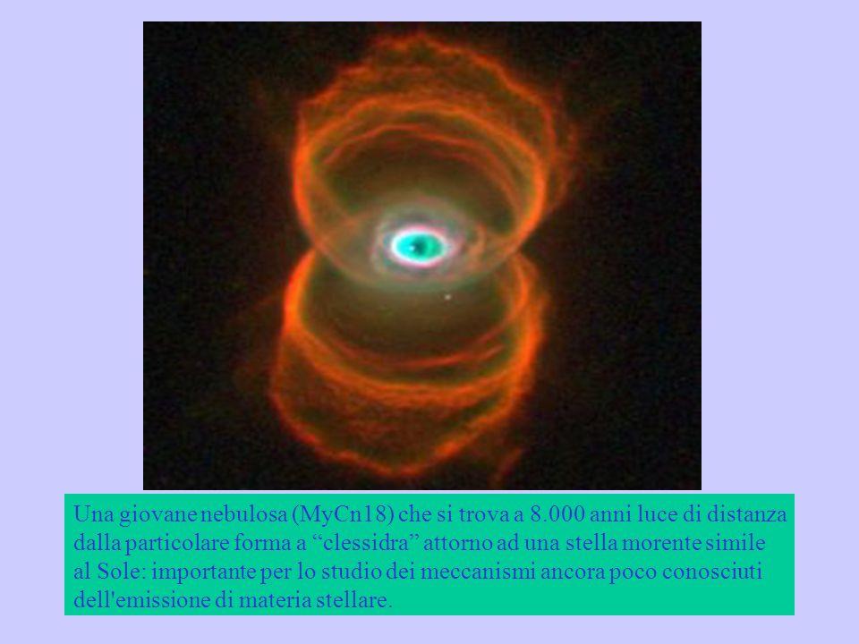 Una giovane nebulosa (MyCn18) che si trova a 8.000 anni luce di distanza dalla particolare forma a clessidra attorno ad una stella morente simile al S