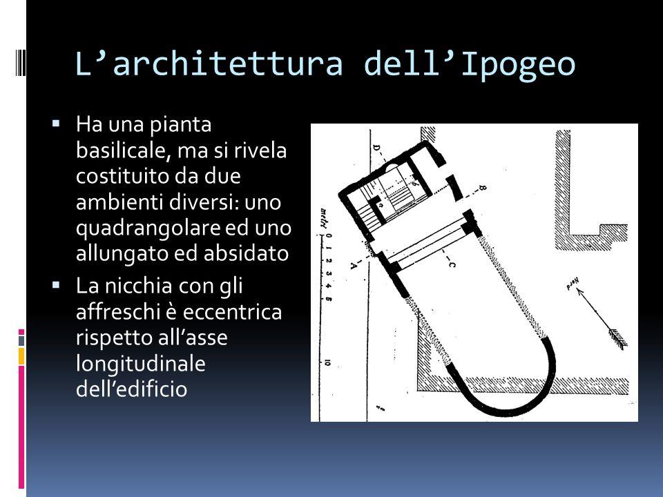Larchitettura dellIpogeo Ha una pianta basilicale, ma si rivela costituito da due ambienti diversi: uno quadrangolare ed uno allungato ed absidato La nicchia con gli affreschi è eccentrica rispetto allasse longitudinale delledificio